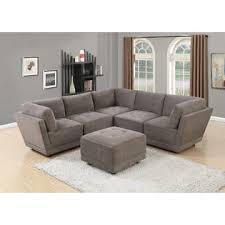 armless chair and ottoman set esofastore modern modular sectional sofa 6pc set waffle suede fabric