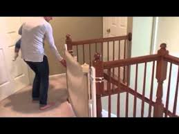Child Safety Gates For Stairs With Banisters Top Of Stairs Retractable Safety Gate Youtube