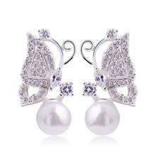 sweet earrings sweet lovely silver butterfly pearl stud earring