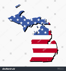 Michigan State Map Map State Michigan American Flag Illustration Stock Vector