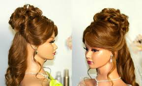 wedding hairstyle for medium long hair curly half up half down