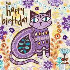 purple cat birthday card karenza paperie