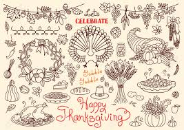 let s celebrate happy thanksgiving doodles set traditional