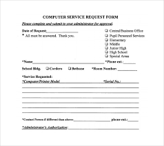 Service Request Template Excel Sle Computer Service Request Form 12 Free Documents