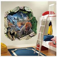 Jurassic Park Decorations 3d Dinosaurs Through The Wall Stickers Jurassic Park Home