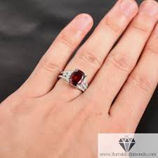 bezel engagement ring cushion cut garnet antique style bezel set diamond pave engagement