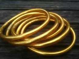 gold rubber bracelet images 24k gold leaf temple bracelets thailand bangles plastic with jpg
