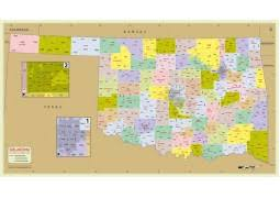 oklahoma zip code map buy printed us zip code with county maps
