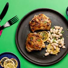 Chicken Breast Recipes For A Dinner Party - roasted chicken thighs with white beans lemon and capers recipe