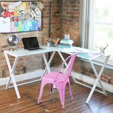 L Shaped Computer Desk White X Frame Glass Metal L Shaped Computer Desk White White By
