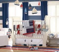ocean baby room white leather single sofa white wood crib cute