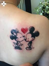 mickey mouse and minnie mouse love couple tattoo on right back