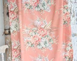 Peach Floral Curtains Coral Floral Curtain Etsy
