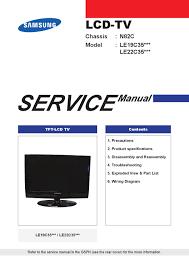 manual service televisor lcd marca samsung modelos le19c35xxx e