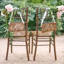 wedding chair signs we these rustic look mr and mrs wooden chair signs