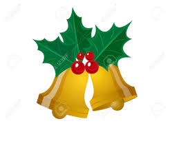 merry christmas leaf with golden bell vector illustration royalty