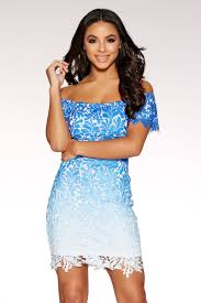 blue bodycon dress blue crochet bardot bodycon dress quiz clothing
