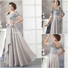 wedding party dresses sleeves square neckline chiffon gray wedding party dress 2014