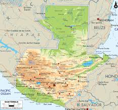 Physical Map North America by Large Physical Map Of Guatemala With Roads And Cities Guatemala