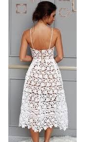 sweet tea white cut out lace spaghetti strap v neck midi dress