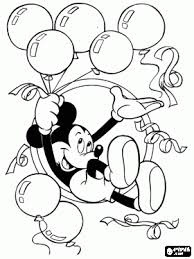 Mickey Mouse New Years Coloring Pages | mickey mouse with balloons and streamers in celebration of new