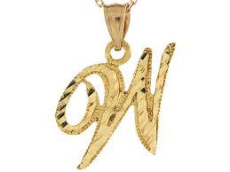 gold 2 23cm fancy script letter w diamond cut initial charm