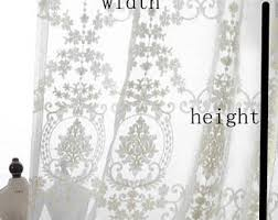 Cream Embroidered Curtains Lace Curtains Etsy
