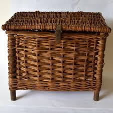 vintage wicker fishing creel stool basket with shoulder strap good