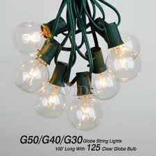 Bulb Lights String by 100 Ft Outdoor Globe Patio String Lights 100 Sockets 125 Clear