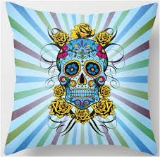 Tattoo Bedding Blue Sugar Skull Tattoo Style Designer Throw Pillow U2013 Sugar Skull