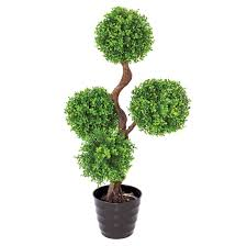 artificial potted pot plant boxwood box topiary tower fake plastic