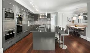 grey kitchen cabinets with white appliances stainless steel glossy