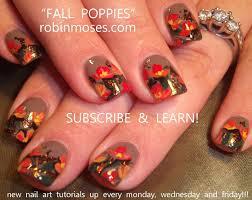diy fall nails poppy nail art design tutorial youtube