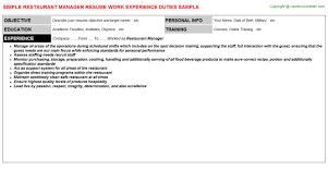 Restaurant Manager Job Resume by Restaurant Manager Job Title Docs