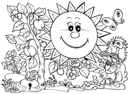 spring coloring pages smile flower welcome spring coloring sheets