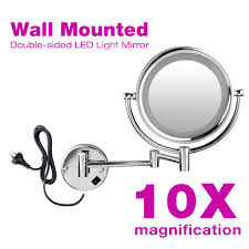 led makeup cosmetic 5 7 10x magnifying mirror dual side bathroom