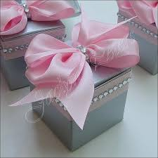 wedding party favor boxes pink and silver wedding favor boxes with bows and rhinestones