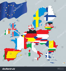 Europe Flag Map by European Union Map Flags Stock Vector 49678972 Shutterstock