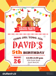 graphic design birthday invitations circus birthday invitation card stock vector 507859771 shutterstock