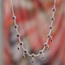 silver necklace from india images Garnet necklace sterling silver jewelry from india queen of jpg