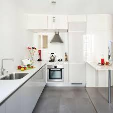 carrelage sol cuisine blanc brillant pour idees de deco blanche gris