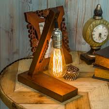 Livingroom Bar by Novelty E27 Edison Bulb Wooden Table Lamp Stand Cafe Living Room