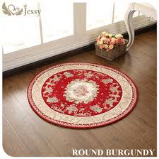 Round Burgundy Rug by Jessy Home European Style Carpet Round Mats High Quality Jacquard