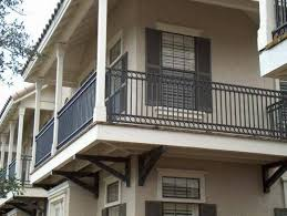 outdoor and patio simple black iron balcony railing mixed with
