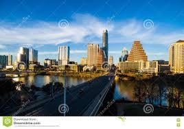 Modern Buildings Aerial Over Austin Texas Modern Buildings Reflecting Orange Glow