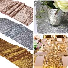 10pcs luxury gold sequin table runner wedding party table