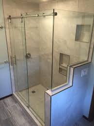 Shower Door City Barn Style Sliding Shower Door With A Notched Return Panel