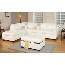 Sectional Sofa With Ottoman 3 Modern Reversible Tufted Bonded Leather Sectional Sofa