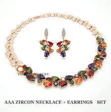 color stone necklace images Gold color my love multi colour cz stones cluster necklace drop jpg