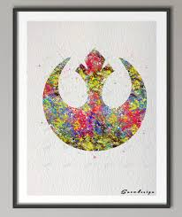 wall hanging picture for home decoration diy original watercolor rebel logo poster print pictures canvas